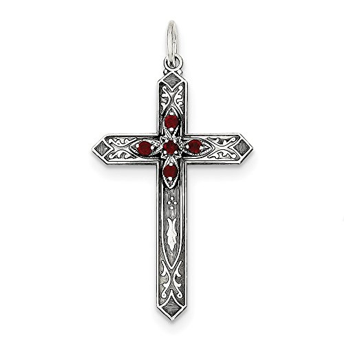 Diamond2Deal 925 Sterling Silver January Birthstone Cross Pendant by Diamond2Deal