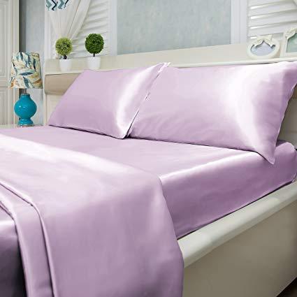 Strand Rich Silk Satin Sheets Set | Silk Satin Sheets Set Olympic Queen |Olympic Queen Sheets Set Lilac | Silk Fitted Sheet 15 Inch Deep Pocket | 4 Pc Sheet Set | Silk Flat Sheet & Pillowcases Set