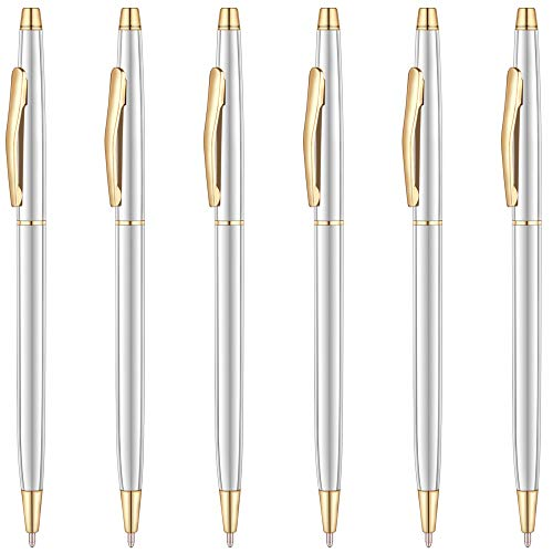 Unibene Slim Metallic Retractable Ballpoint Pens - Silver & Gold, Nice Gift for Business Office Students Teachers Wedding Christmas, Medium Point(1 mm) 6 Pack-Black ink