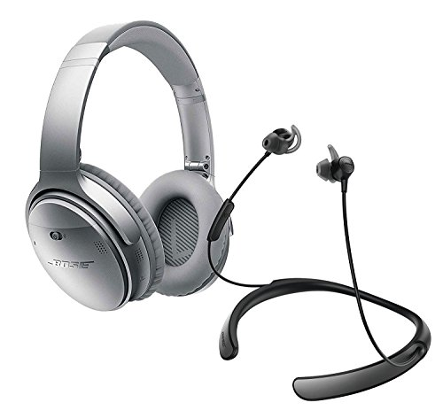Bose QuietComfort 35 (Series I) Noise Cancelling Over-ear (Silver) & QuietControl 30 (Black) In-ear Active Noise Cancelling Wireless Bluetooth Headphone Bundle