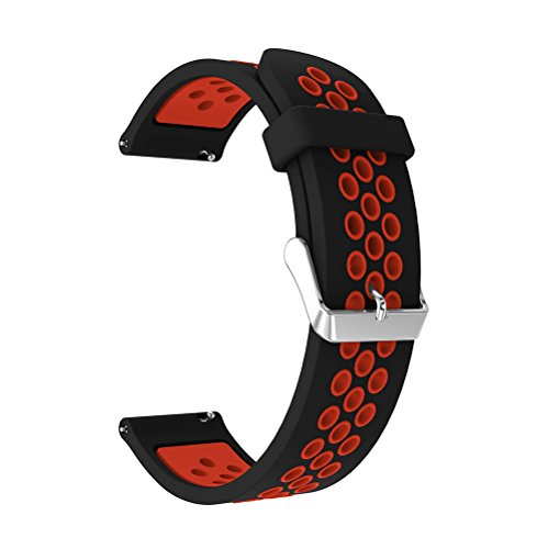 22mm Silicone Replacement Band for Samsung Gear S3 Frontier Sports Watch Band Strap Bracelet for Samsung Gear S3 Classic Frontier Smart Watch (Black Red) by Flyeagle168 (Image #3)
