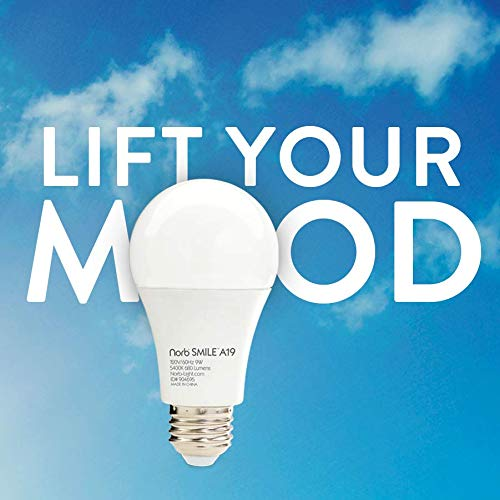 NorbSMILE Advanced Full Spectrum A19 LED Light Bulb Supports Circadian Rhythm Mood Energy Performance.Feel Right Light Supplements SAD Light Natural Sunlike Spectrum
