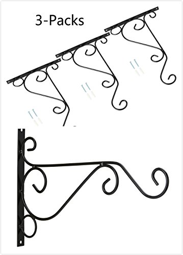 3-Pack 10'' Flower Plant Pot Hooks Hangers Forged Mount Against Door Fence Balcony Outdoor Lawn Iron Bracket For Planter Bird Feeder Lantern Windbell Wind Chimes With Screws (black) (Iron Parts Fence)