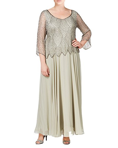 J Kara Plus Size Embellished 3/4 Sleeve A-Line Evening Gown Dress