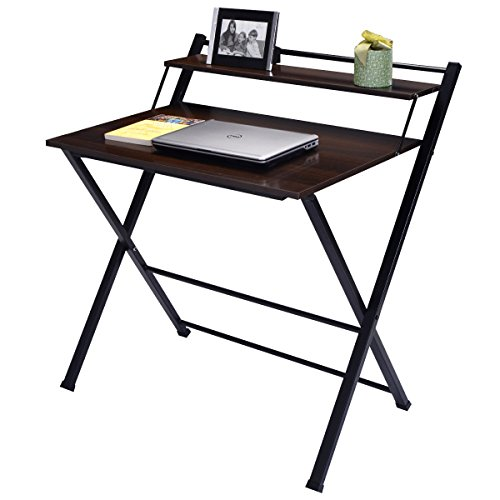 2-Tier Folding Computer Desk Workstation Study Table Home Office Furniture by Allblessings