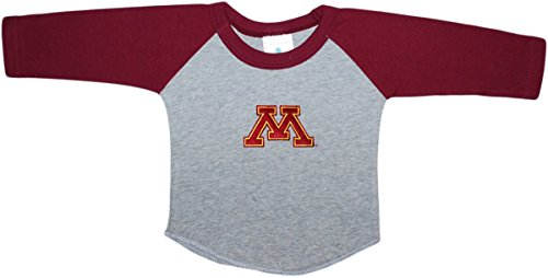 (Creative Knitwear University of Minnesota Golden Gophers Newborn Baby Toddler 2-Tone Raglan Baseball Shirt)