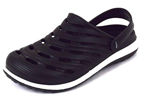 Herren Clogs Pantoletten die idealen Freizeit-, Arbeits- oder Hausschuhe, moderne Garten-Clogs in aktueller Farbkombination: schwarz/weiss Gr. 40-45