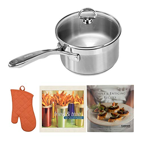 (Chantal SLIN35-162 Induction 21 Steel Sauce Pan with Glass Tempered Lid (2-Quart) Includes Oven Mitt and 2 Cookbooks Bundle)