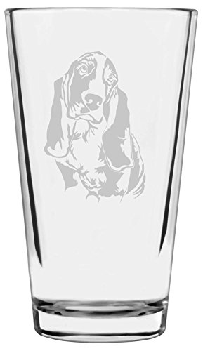 Basset Hound Dog Themed Etched All Purpose 16oz Libbey Pint Glass