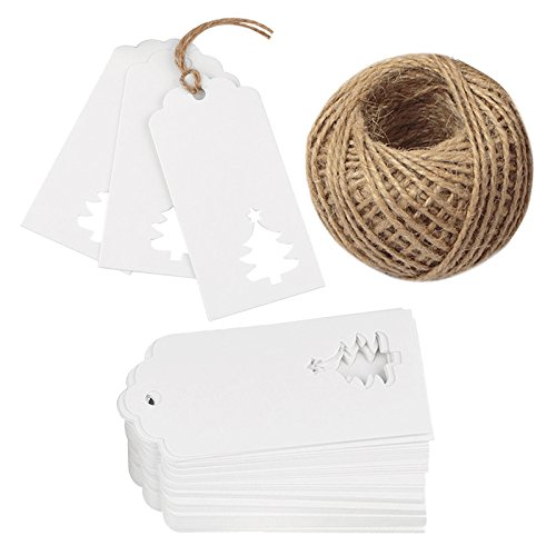 100 PCS Christmas Gift Wrap Tags, White Hollow Christmas Tree Design with 100 Feet Natural Jute Twine for Christmas Gift Wrapping, Wedding and Party Favor(White)