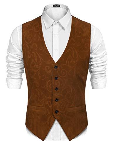 COOFANDY Mens Casual Suede Vest Slim Fit Single-Breasted Paisley Suit Vest Waistcoat,Dark -
