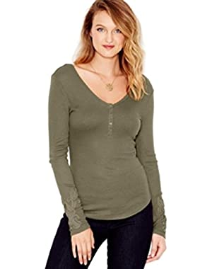 GUESS Waffle-Knit Applique Henley Top