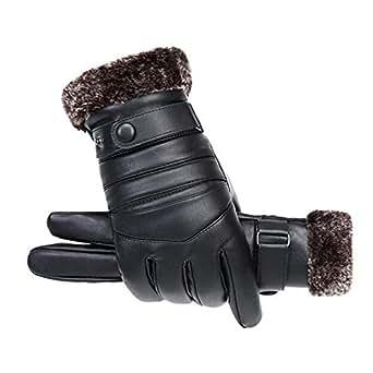 Amazon.com: Likero Men Leather Warm Full Finger Gloves
