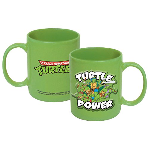 ICUP Nickelodeon - TMNT - Turtle Power 20oz. Green Embossed Ceramic Coffee Mug (Ninja Turtle Coffee Mug)