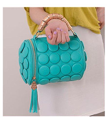 New Women'S Handbags Boston Bags Ladies Tassel Button Messenger Bags Leather Shoulder Bags Clutch Bolsas Sky Blue 23X18X18 Cm