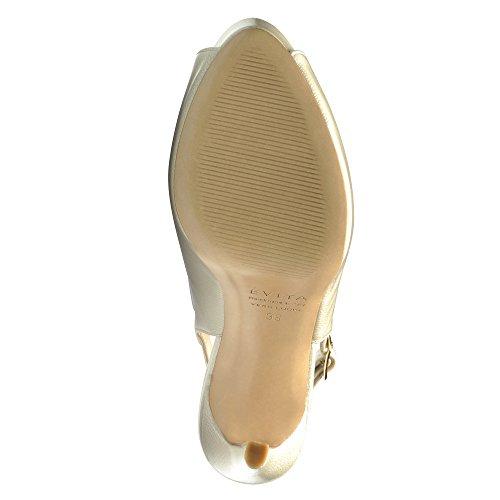 Evita Shoes Beppina Damen Sandalette Lack mit Prägung Perlmutt
