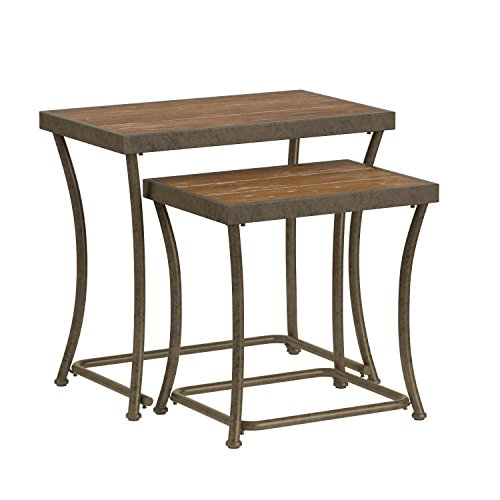 Ashley Furniture Signature Design - Nesting End Table Set - Rustic Mix of Metal and Wood - Vintage Casual - Set of 2 - Light Brown by Signature Design by Ashley (Image #5)