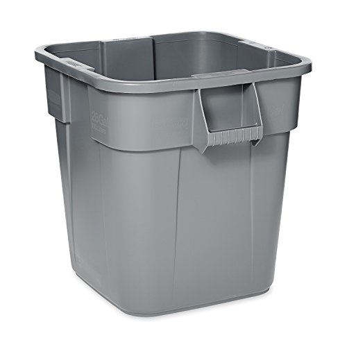 Rubbermaid Commercial Products BRUTE Square Bin Storage Container without Lid, 28-Gallon, Gray (FG352600GRAY)