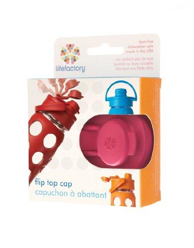 Lifefactory Glass Beverage Bottle Flip Top Cap, 16-Ounce/22-Ounce, Raspberry, Appliances for Home