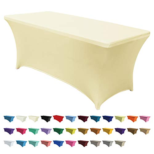 ABCCANOPY Spandex Table Cover 6 ft. Fitted 30+ Colors Polyester Tablecloth Stretch Spandex Table Cover-Table Toppers (Black) (6 FT Table Cover, Beige)
