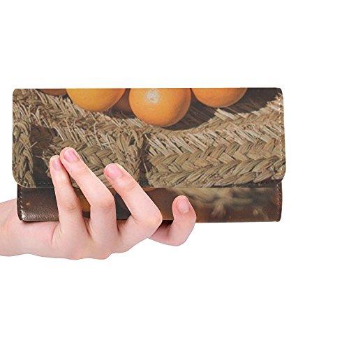 Unique Custom Orange Fruits Food Vitamins Basket Women Trifold Wallet Long Purse Credit Card Holder Case (Nantucket Basket Purses)