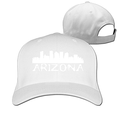 Arizona White Sport Hat (OCPEK Arizona City Skyline Silhouette Caps Flat-Along Plain Adjustable Sports Snapback Hats)