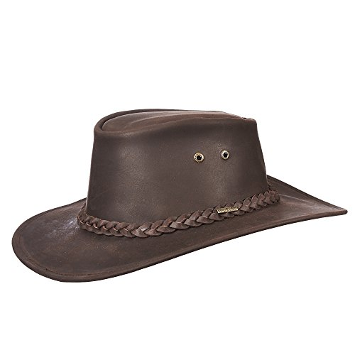Aussie Outback Hats (Stetson Men's Buffalo Leather Aussie Hat, Brown, L)