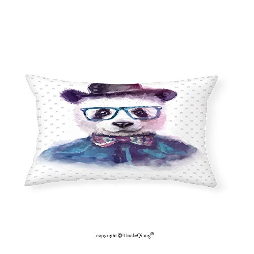 VROSELV Custom pillowcasesFunny Decor Vintage Hipster Panda With Bow Tie Dickie Hat Horn Rimmed Glasses Watercolor Style Print Bedroom Living Room Dorm Decor Black - Glasses Owl Rimmed