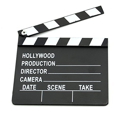 Paialco Hollywood Director's Movie Film Wooden Slate Board Clapper Clapboard Black (Hollywood Movie Costume And Props)