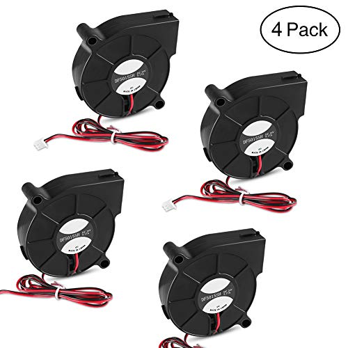 4 PCS 5015 Blower Cooling Fan 50mm x 50mm x 15mm Cooling Fan with 2 Pin Terminal for 3D Printer Humidifier Aromatherapy Repair Replacement Hotend Extruder Heatsinks(24V 0.17A)