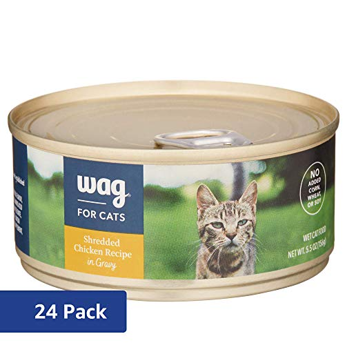 Amazon Brand - Wag Wet Cat Food, Shredded Chicken Recipe in Gravy, 5.5 oz Can (Pack of 24)
