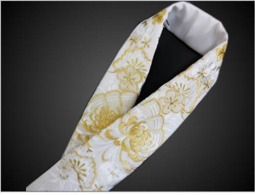 ぎっしり刺繍半衿半襟白地乱菊古典花扇 振袖成人式&袴?着物に