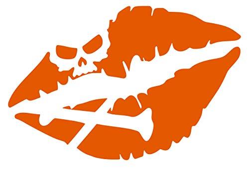 IOrn Skull Crossbones Kiss of Death Lips Decal Vinyl Sticker Graphics for Cars Trucks SUV Vans Walls Windows Laptop|Intense Orange|5.5 X 4 Inch|URI340-IO