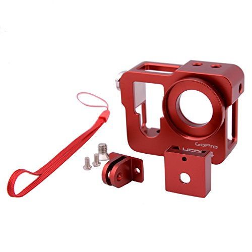 Qunqi Aluminium Alloy Protective Housing Case Frame + Tripod Mount Lens Cap for GoPro HD Hero 4 Camera accessories,Red