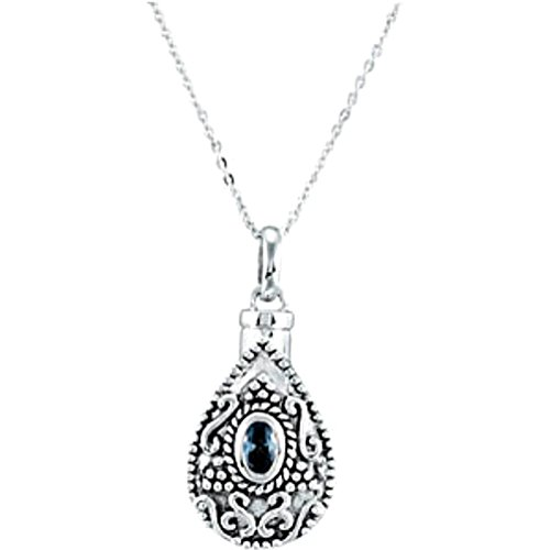 Blue-Green CZ Teardrop Ash Holder Necklace, Rhodium Plate Sterling Silver, 18'' by The Men's Jewelry Store (Unisex Jewelry)
