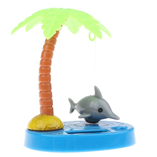Baoblaze Cute Animal Solar Powered Dancing Dolls, Grey Dolphin and Coconut Tree Toy Home Decor Kids Birthday Gift ()