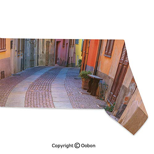 oobon Space Decorations Tablecloth, Narrow Paves Street Among Old Houses in Town Serralunga DAlba Piedmont Decorative, Rectangular Table Cover for Dining Room Kitchen, W60xL120 inch