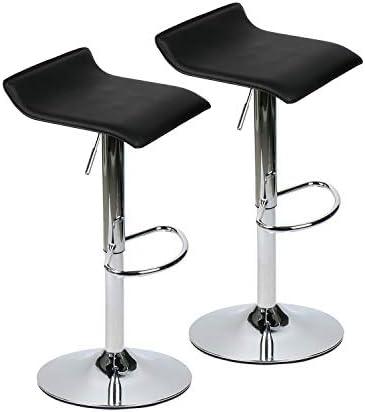 Fullwatt 360 Degree Swivel Bar Stools Height Adjustable Mordern bar Stool Leather Adjustable Set of 2 Black