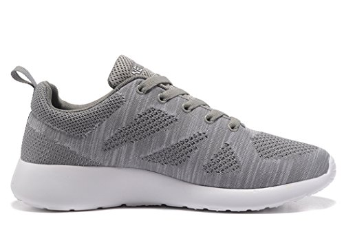 newluhu Mens Running Shoes Lightweight Outdoor Casual Athletic Knit Sports Sneakers(10US/44EU, Grey)
