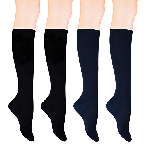 KONY Women's 4 Pairs Casual Knee High Socks Soft Stretch Cotton All Season Gift Size 6-10 (Black 2 + Navy 2)
