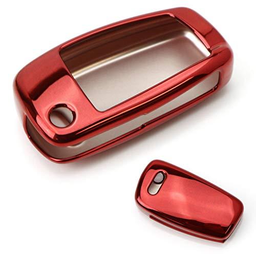 iJDMTOY Chrome Finish Red TPU Key Fob Protective Cover Case For Audi A3 S3 A4 S4 A6 Q5 Q7 TT R8 Folding Blade Key