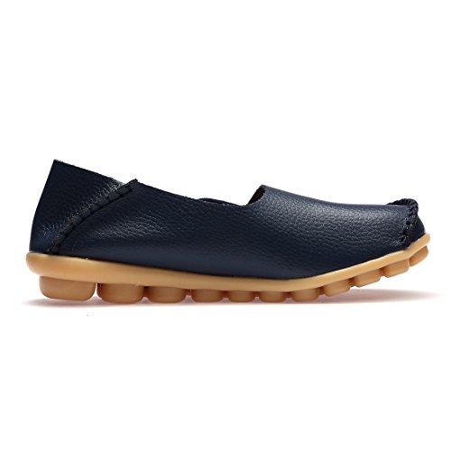 BTDREAM Damen Leder Slip-On Loafers Mokassins beiläufige flache treibende Bootsschuhe mit Memory-Foam-Einlegesohle 002-Marine
