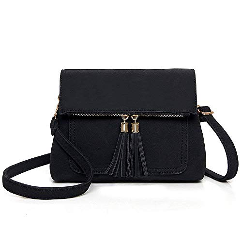 Simple Hombro Korean Sra Negro Bag Tassel La De Bolso Diagonal qEZw5xp67