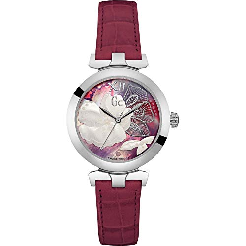 Guess Collection Women Analog Swiss Quartz Watch with Flower Dial and Red Leather Strap Y22005L3 Gc Lady Belle Sport Chic Collection