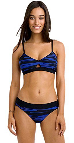 Yonas Women's Double Colored Fastlane Banded Two Piece Bikini Swimsuit(SIZE L/BLUE)
