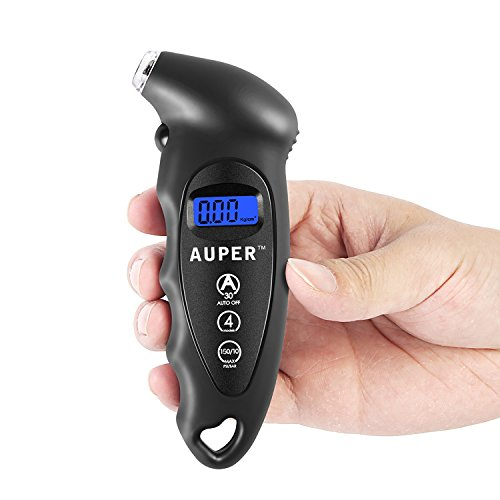 Digital Tire Pressure Gauge, Auper Best Electronic Tire Gauge 150 PSI / 10 BAR 4 Settings Air Pressure Gauge Tester with LCD Display and Keychain Hole for Car, Truck,Motorcycle, Mountain Bike and More