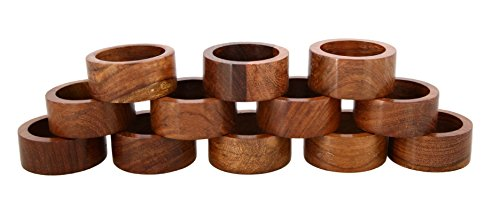 Shalinindia Handmade Wood Napkin Ring Set With 12 Napkin Rings - Artisan Crafted in India (Pearl Beaded Plate)