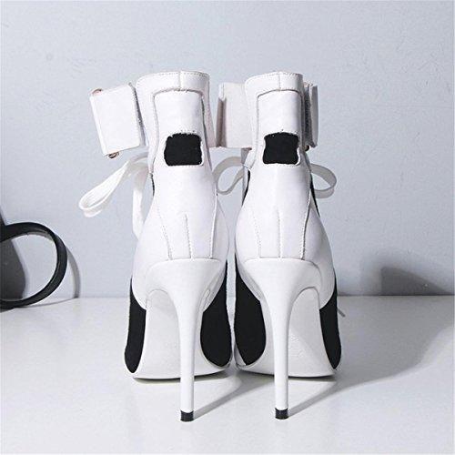 Nvxie eur44uk10 Strappy Correa Zapatillas 8 Trabajo Zapatos Negro Estilete Mujeres Puntiagudo Tamaño 5 Fiesta 44 Señoras White Tobillo Alto 42 Tacón uk 35 Inteligente Eur Corte r4OrqxvZw