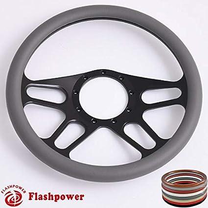 Dark Grey Flashpower 14 Billet Half Wrap 9 Bolts Steering Wheel with 2 Dish and Horn Button