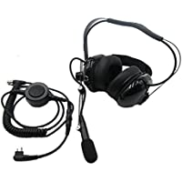 SUNDELY® Headset/Earpiece with Boom Mic Big PTT Button Coiled Cord Electronics Communications Rugged NASCAR for Motorola Racing Radio Walkie Talkie 2-pin